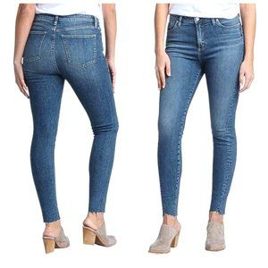 SILVER Blue High Rise Raw Hem Skinny Jeans